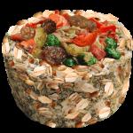 Зерновая  круглая корзиночка с фруктами
